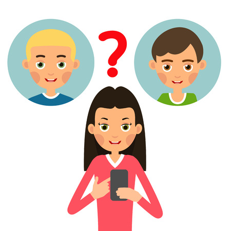 Girl calling phone. Young woman chooses whom to call or send an SMS message from two guys. Set cartoon illustration isolated on white background in flat style. Ilustração