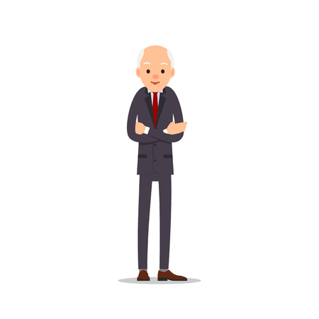 Old man. Elderly man in business suit stands with arms crossed on his chest. Cartoon illustration isolated on white background in flat style. Full length portrait of old human, senior or grandfather.  Illustration