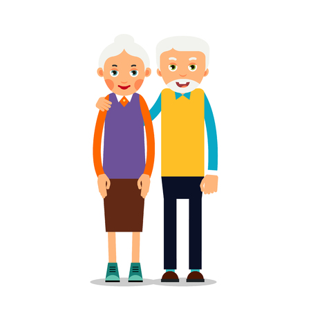 Couple older people. Two aged people stand. Elderly man and woman stand together and hug each other. Illustration isolated on white background in flat style. Illustration