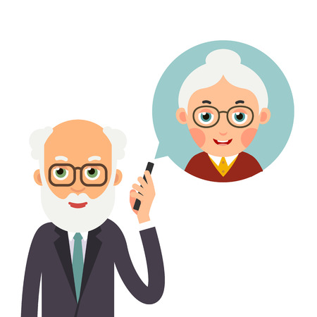 Grandfather with phone. Elderly man holds phone in her hand and represents image of grandmother with whom she talks. Cartoon illustration isolated on white background in flat style.   Ilustrace