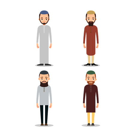 Set Muslim man or Arab man stand in the traditional clothing. Isolated characters of representatives of Islam on a white background in a flat style.  Illustration