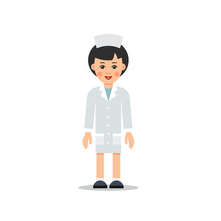 Cartoon female doctor stands with downcast hands isolated on white background in flat style. Illustration