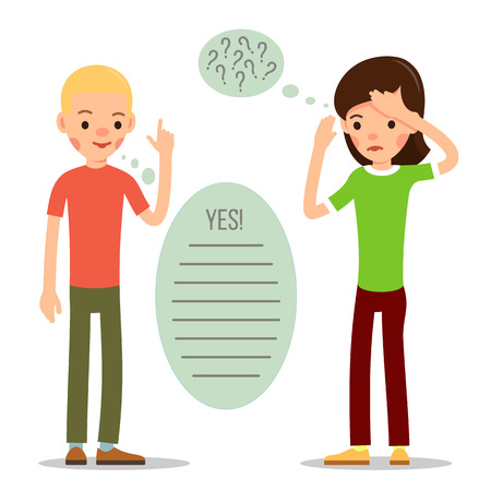 Young man and a girl reflect on the trouble. Young people are explained with text bubble. Young couple is talking about problems of mutual understanding with speech bubbles.