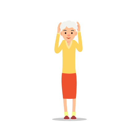 Old woman. Elderly woman stand raising his arms up and holding his head. Illustration isolated on white background in flat style. Full length portrait of old ladie, senior or grandmother.