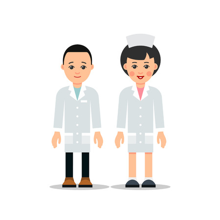 Doctor man and woman. Cartoon male and female doctor stands with downcast hands. Cartoon illustration isolated on white background in flat style. Full length portrait of doctor woman, nurse or medical assistant.  Illustration