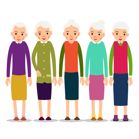 Older woman. Old woman character in various poses. Woman in a dress, blouse and skirt. Set cartoon illustration isolated on white background in flat style.  Illustration