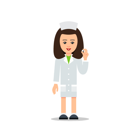 Woman doctor isolated. Physician woman. Cartoon illustration isolated on white background in flat style. Full length portrait of doctor woman, nurse or medical assistant.
