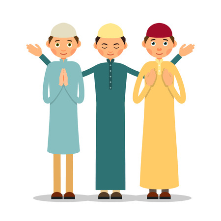 Muslim praying. Three Muslim men stand and pray. The performance of Muslim prayer by men with raised hands. Illustration in flat style. Isolated.