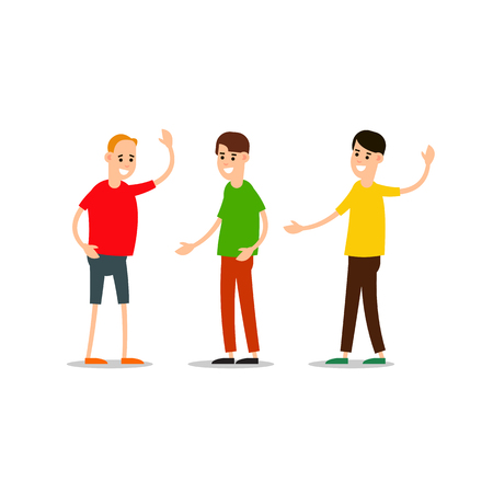 Young man standing and greet each other. Group of young people. Funny cartoon guy in various poses. Cartoon illustration isolated on white background in flat style.  Illustration