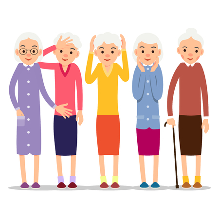 Older woman. Old woman character in various poses. Woman in a dress, blouse and skirt. Set cartoon illustration isolated on white background in flat style.