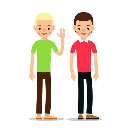 Young people cartoon illustration isolated on white background in flat style. Guy standing and welcomes with a raised hand. Funny cartoon character.