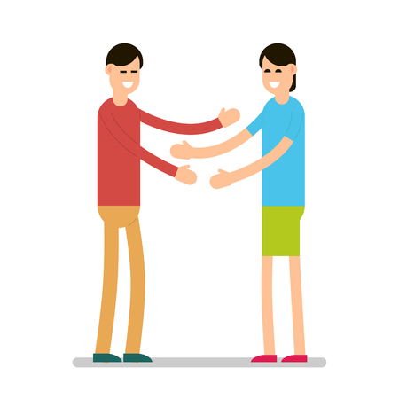 Greeting people. Girls standing and greeting each other. Group of young people. Cartoon illustration isolated on white background in flat style.  イラスト・ベクター素材