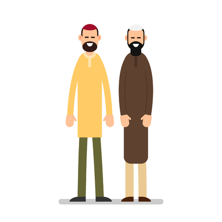 Two muslim arabic people standing together in different suit and traditional clothes. Illustration in flat style on white background. Isolated.