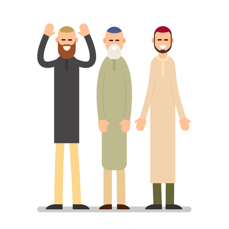 Group muslim arabic people. Men standing together in different suit and traditional clothes. Illustration in flat style on white background. Isolated.