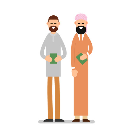 Two muslim arabic people standing together in different suit and traditional clothes and they hold in their hands the holy book of the Koran. Illustration in flat style on white background. Isolated.