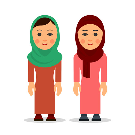 Arab woman or muslim woman. Cartoon character stand in the traditional clothing. Isolated characters of representatives of Islam on a white background in a flat style.