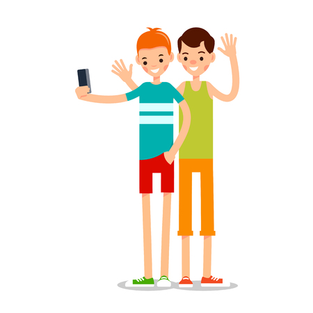 Man selfie isolated. Friends do joint self-portrait photograph. Happy smiling young man taking selfie photo. Illustration in flat style. Isolated.