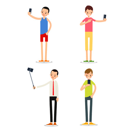 Man selfie isolated. Friends do joint self-portrait photograph. Happy smiling young man taking selfie photo. Set illustration in flat style. Isolated.