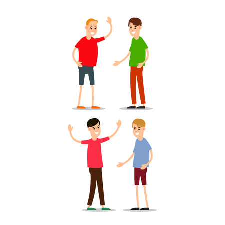 Young man standing and greet each other. Group of young people. Funny cartoon guy in various poses. Cartoon illustration isolated on white background in flat style.
