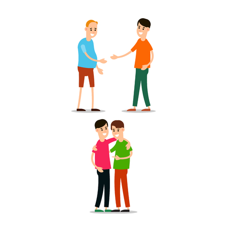 Young man standing and greet each other. Young people hugg each other. Funny cartoon guy in various poses. Cartoon illustration isolated on white background in flat style.