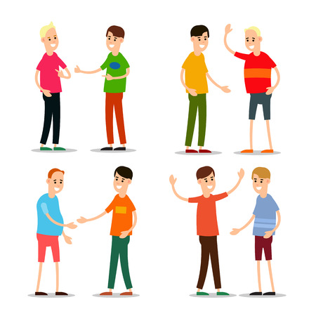Set young man standing and greet each other. Group of young people. Funny cartoon guy in various poses. Cartoon illustration isolated on white background in flat style.