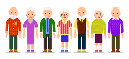 Group older people. Aged caucasian people. Elderly men and women. Grandparents on a white background. Illustration in flat style. Isolated. Vecteurs