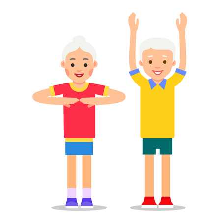 Old people and sports. Grandparents perform health gymnastics. Senior people doing physical activity. Adults making physical exercises. Cartoon illustration isolated on white background in flat style. 스톡 콘텐츠 - 112319178
