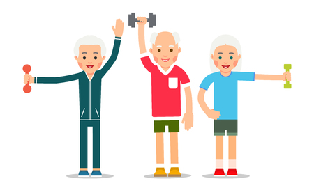 Old people doing exercises with dumbells. Group pensioners and gymnastics. Senior people making morning exercises. Grandparents and Sport. Cartoon illustration isolated on white background in flat style.