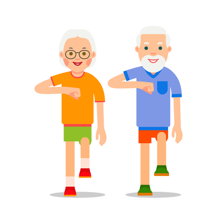 Old people and sport walking. Grandparents perform health gymnastics. Senior people doing physical activity. Adults making physical exercises. Cartoon illustration isolated on white background in flat style.