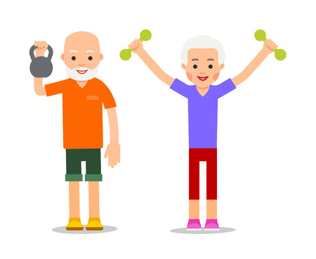Old people doing exercises with dumbells and kettlebell. Pensioners and gymnastics with weights. Senior people making morning exercises. Grandparents and Sport. Cartoon illustration isolated on white background in flat style.