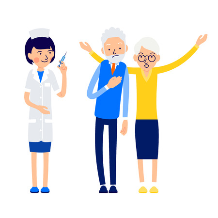 Nurse is getting ready to inject. Elderly man is ill and feels bad. His wife lifting hands up is calling for help. Illustration of people characters isolated on white background in flat style.