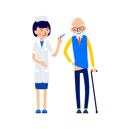 Nurse is preparing to make an elderly patient medical injection. Man lowered trousers preparing for medical prick. Illustration of people characters isolated on white background in flat style. 矢量图像