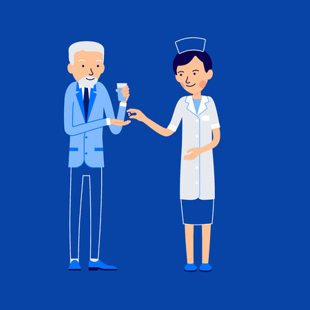 Nurse and patient. Elderly patient holds glass of water in his hand and stretches his hand for medicine. Nurse gives the patient pill. Illustration isolated on white background in a flat style.