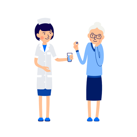 Woman doctor or nurse gives sick glass of water. Elderly patient holds pill in her hand, the other hand holds the cheek, which hurts. Illustration isolated on white background in flat style. Ilustração
