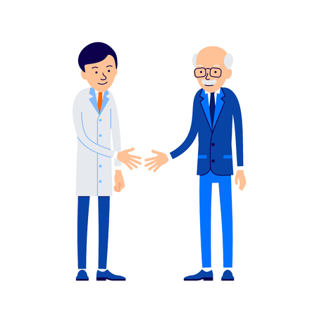 Doctor and patient. Doctor welcomes patient. Therapist stretches out his hand to handshake patient. Illustration of people characters isolated on white background in flat style.