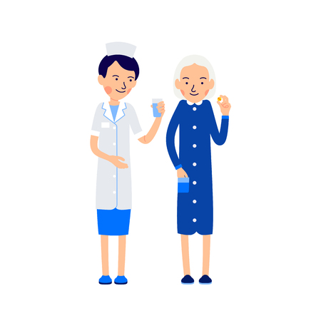 Nurse offers sick water to drink pill. Nurse and sick elderly woman. Taking medications. Illustration of people characters isolated on white background in flat style.