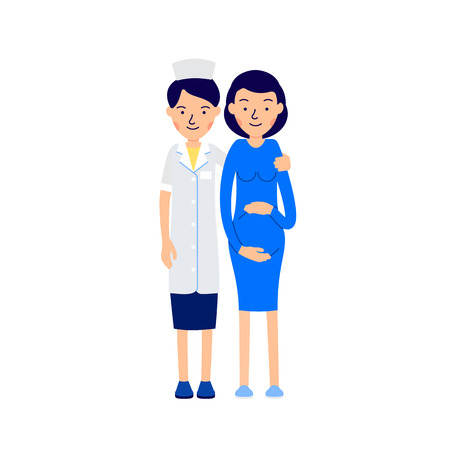 Doctor and pregnant. Nurse or physician standing next to pregnant woman, hugging her shoulders. llustration of people characters isolated on white background in flat style. Vectores