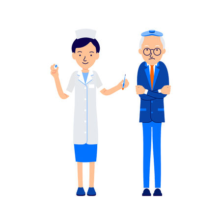 Elderly man in chills, patient hugged himself with his hands, on his head he had an ice pack. Nurse offers him thermometer for measuring temperature and pills. llustration of people characters.