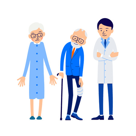 Doctor and patient. Elderly man with pain leg accompanied by his wife at the doctors appointment. Patient is holding his hand on the sore leg, with the other his hand resting on his cane. Illusztráció