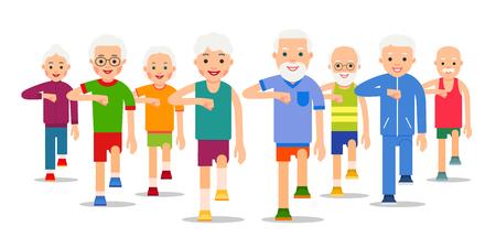 La folla di persone anziane e attive va. Uomini e donne adulti eseguono esercizi di camminata statica. Esercizi fisici, allenamento, allenamento, sport, stile di vita sano. Illustrazione di stile piatto.