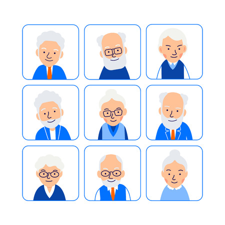 Set avatars old people. Illustrations of heads of elderly people in rounded squares. Symbols aged faces. Illustration of people characters isolated on white background in flat style.  Illustration