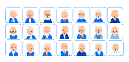 Avatars elderly men. Illustrations of heads of pensioner in rounded squares. Male faces. Illustration of men characters isolated on white background in flat style.