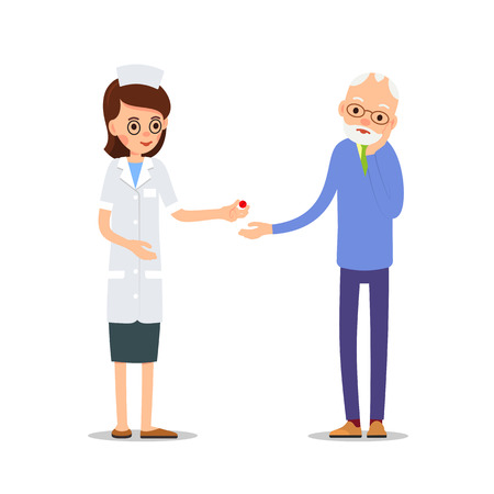 Nurse and patient. Elderly people, man and woman standing next to a doctor and nurse. Elderly woman with a headache. Illustration of people characters isolated on white background in flat style.