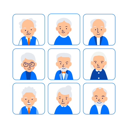 Avatars elderly people. Illustrations of heads of pensioner in rounded squares. Male and female faces. Illustration of people characters isolated on white background in flat style.