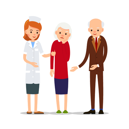 Nurse are taking sick woman, next to her husband. Elderly woman with a toothache. Illustration of people characters isolated on white background in flat style.