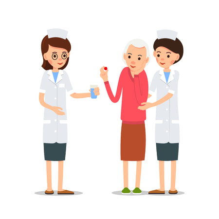 Woman doctor gives sick glass of water. Nurse supports the sick. Elderly patient holds pill in her hand, the other hand holds the cheek, which hurts. Illustration isolated on white background in flat style.
