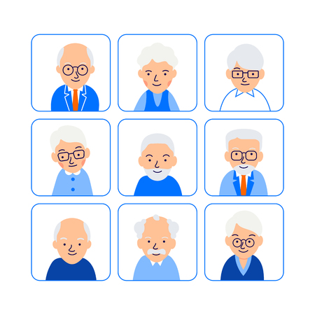 Cartoon old people avatars. Symbols senior people. Icons happy pensioner. Faces caucasian men and women. Illustration of people characters isolated on white background in flat style. Illustration