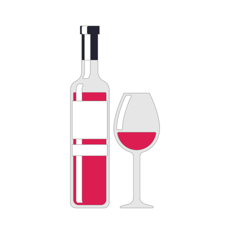 Wine bottle and wine glass. Red wine color. Alcohol drink sign. Color illustration tableware for drinking isolated on white background in flat style.