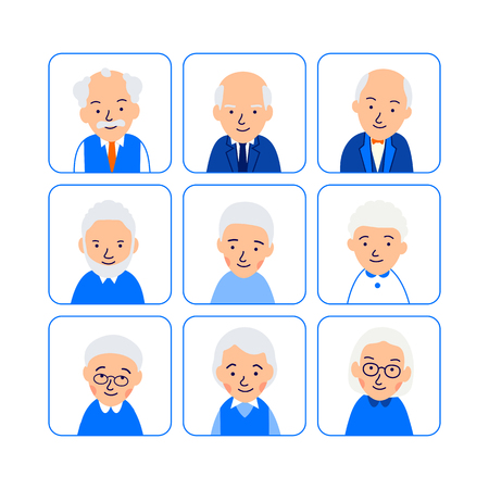 Set avatars happy old people. Icons of heads of elderly people in rounded squares. Symbols aged faces. Illustration of people characters isolated on white background in flat style. Illusztráció