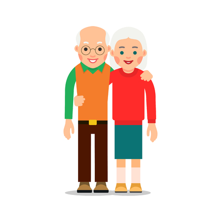 Old couple. Two aged people stand. Elderly man and woman stand together and hug each other. Illustration isolated on white background in flat style. Illustration